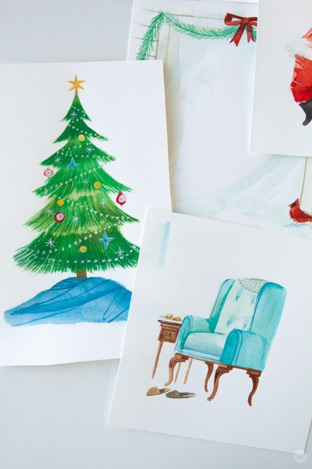 Paintings of a Christmas tree and Santa's chair   thinkmakeshareblog.com