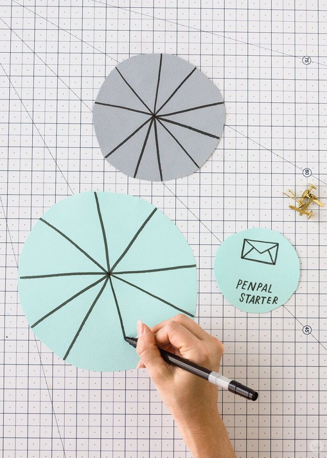 Marking circles for a pen pal starter | thinkmakeshareblog.com