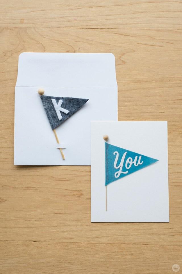 Envelope art: DIY felt pennant with matching card