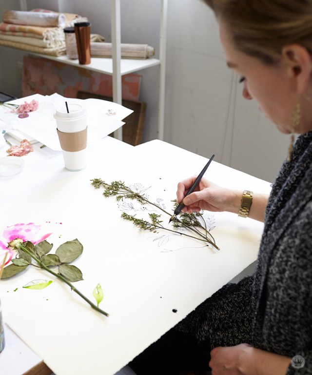 Pressed flower idea: Adding missing pieces with paint or pen and ink