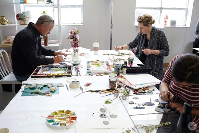 Hallmark artists working on pressed flower ideas