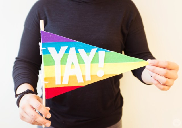 """Rainbow-striped pride pennant with the word """"YAY!"""""""