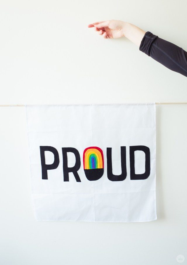 Displaying a rainbow-bedecked PROUD flag.