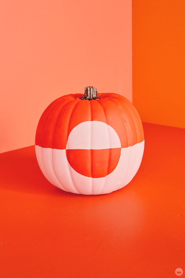 Pink and orange color block pumpkin