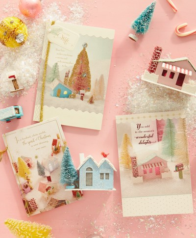 Glitter Houses Christmas Cards | thinkmakeshareblog.com