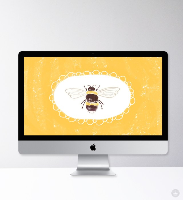 Bumble bee desktop wallpaper designed by one of our Hallmark summer interns, Sara Bicknell.
