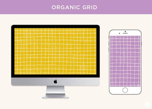 Free September digital wallpapers: Organic grid in mustard and violet displayed on desktop and phone screen