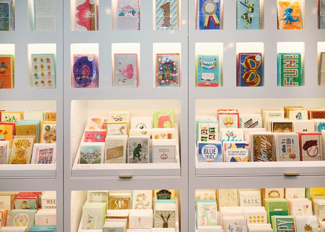 Card displays at the new Hallmark Signature Store in Santa Monica, CA