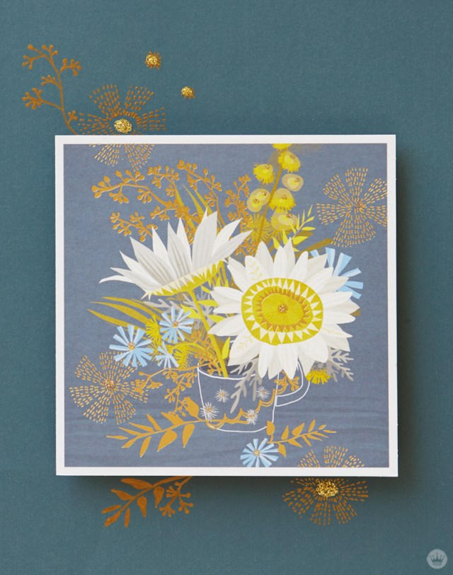 Sketchbook Gallery card drawing featuring multiple flowers in a clear mug