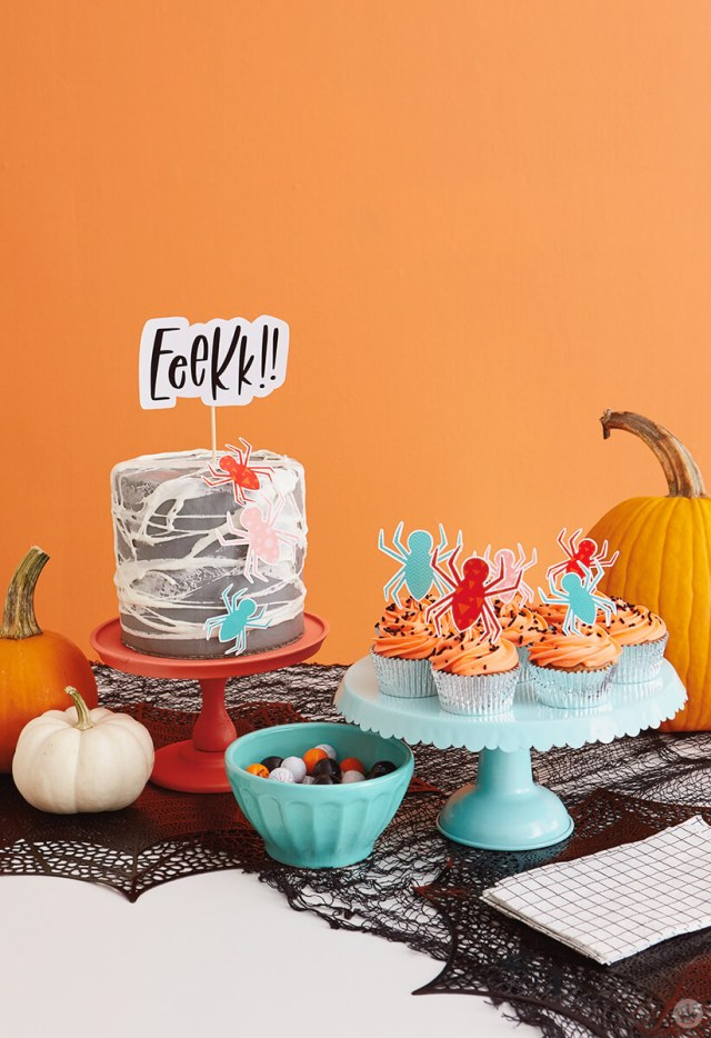 Treats on a table set for a Halloween party