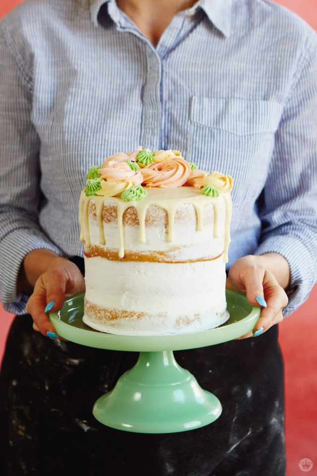 Spend Mother's Day time together by baking a drip cake with buttercream florals