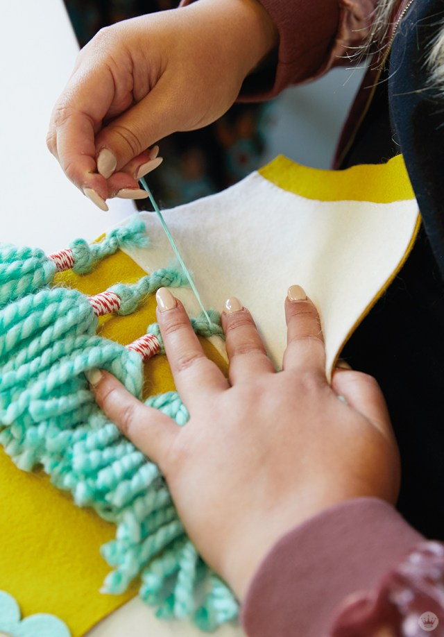 Adding tassels to a DIY Christmas stocking