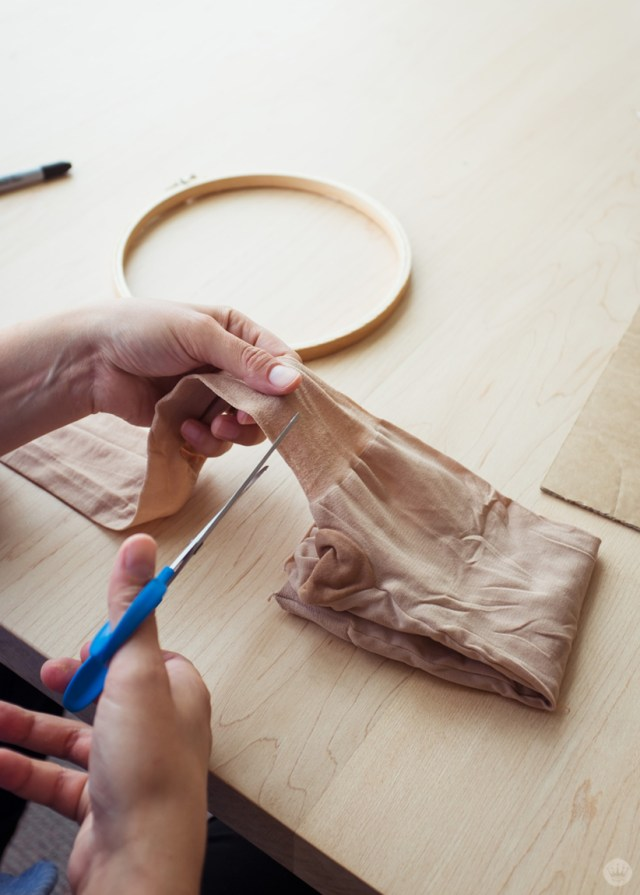 Cutting panty hose to fit an embroidery hoop