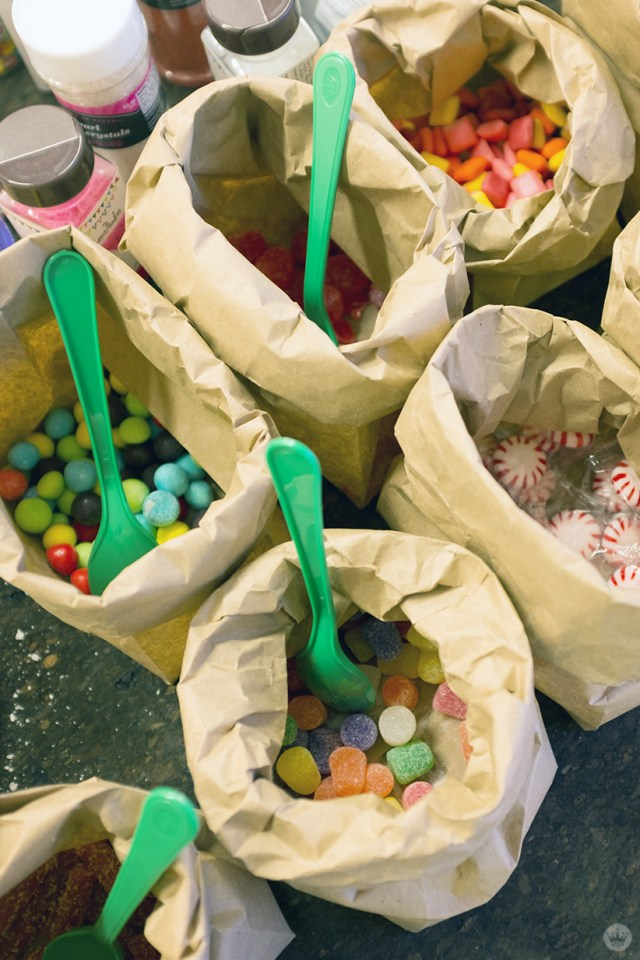 Bags and bags of candy for a Christmas craft
