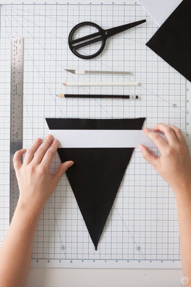 Adding a football design to a DIY Felt Pennant Banner