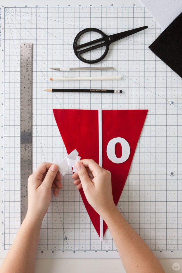 Attaching numbers to a DIY Felt Pennant Banner