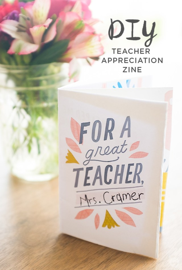 "Teacher appreciation ideas: ""For a great teacher"" DIY zine"