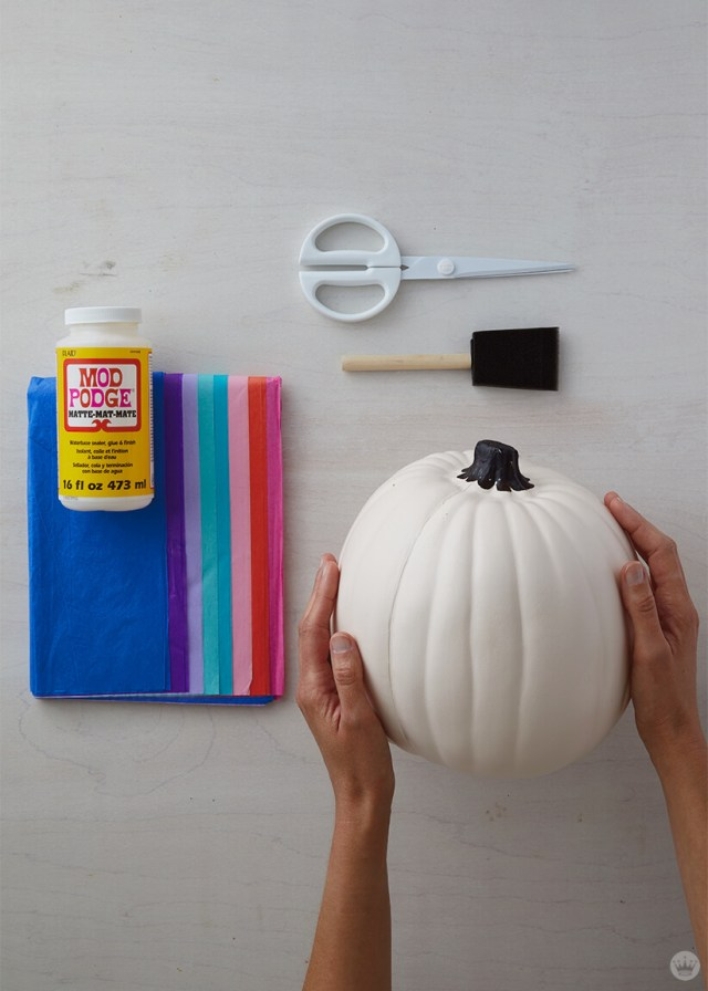 Supplies for Tissue paper decoupage pumpkins: tissue paper, scissors, Mod Podge, foam brush, craft pumpkin | thinkmakeshareblog.com