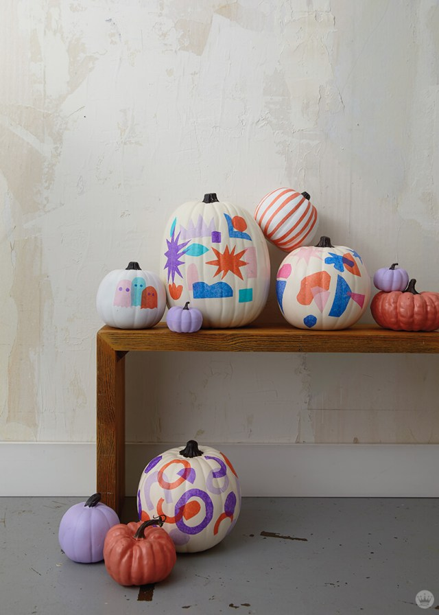 Tissue paper decoupage pumpkins | thinkmakeshareblog.com