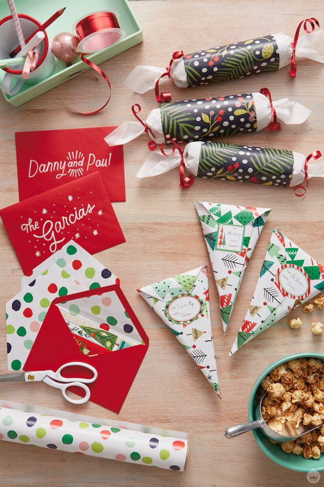 Holiday treats and cards wrapped in Hallmark Wrapping paper