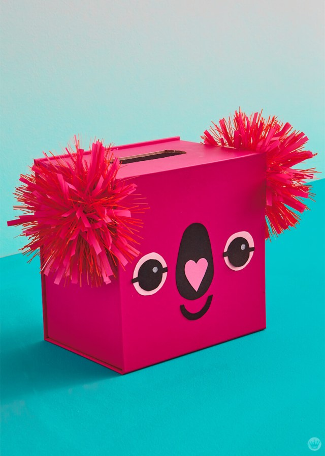 Pink koala kids valentine box with pom-pom ribbon ears | Think.Make.Share. blog