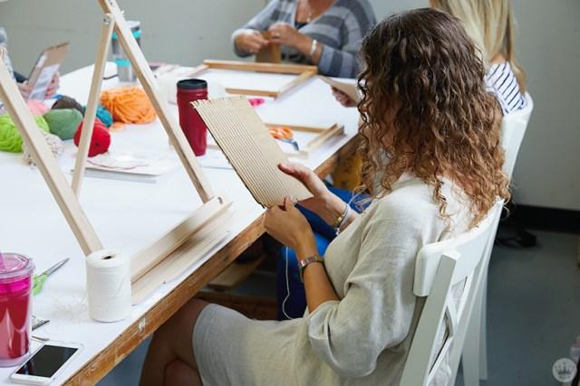 Weaving workshop: hallmark artists weave on cardboard looms