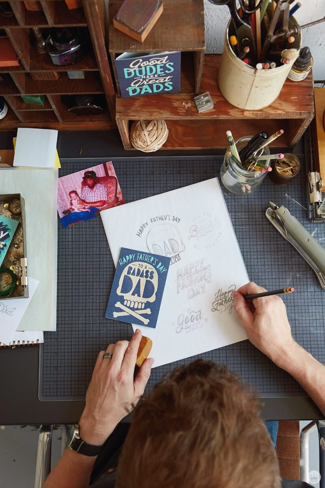 Hallmark Design Zack N. works on a badass Father's Day card