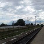 Train station, cloudy