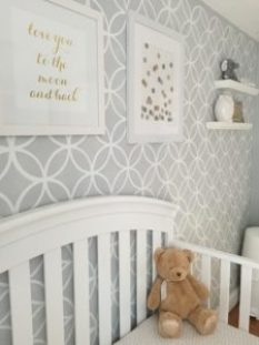 gray and white baby nursery