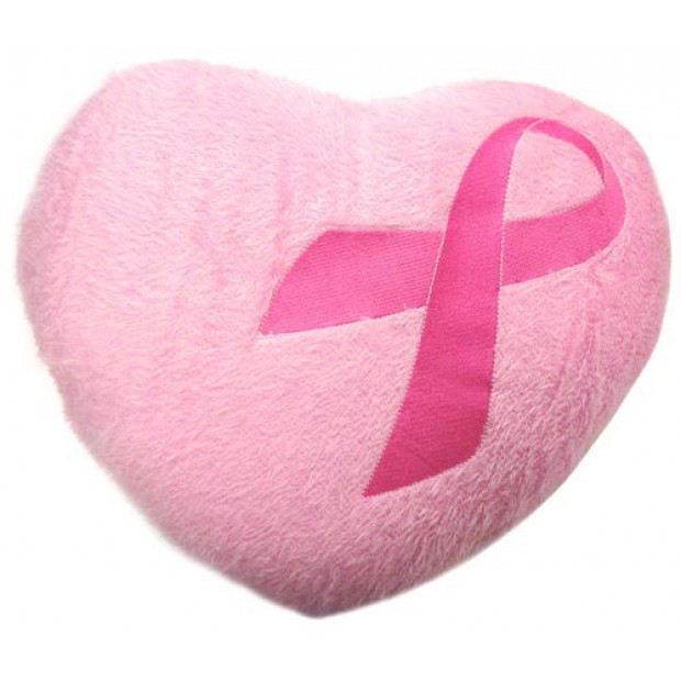 breast cancer plush heart pillow pink