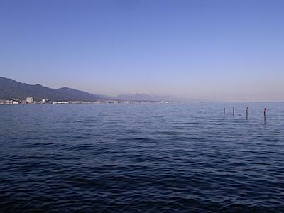 琵琶湖 比良山