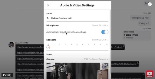 adjust Skype audio and video settings
