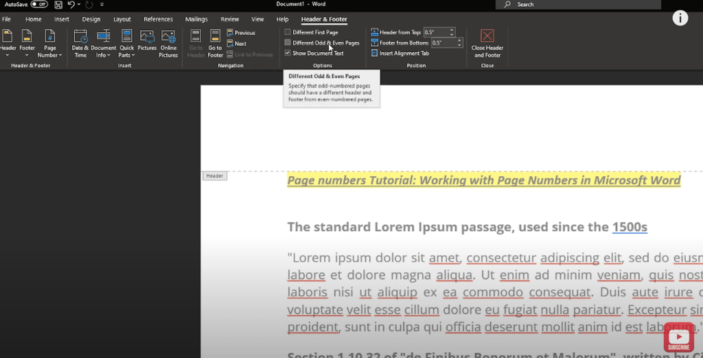 Page Numbers in Microsoft Word