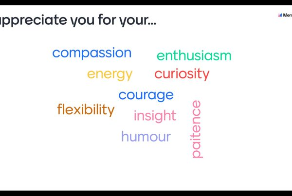 A word cloud. Title says: I appreciate you for your ... Words say: compassion, energy, flexibility, enthusiasm, curiosity, courage, insight, humour, paitence.