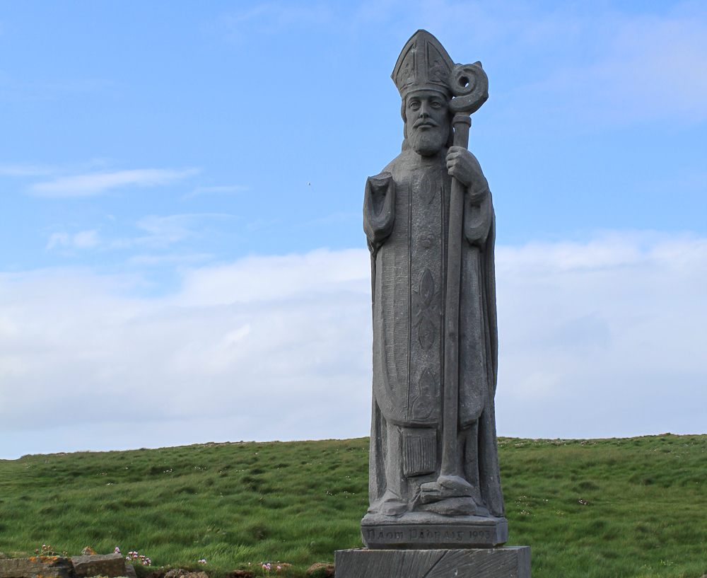 St. Patrick statue near the church ruin at Downpatrick Head.