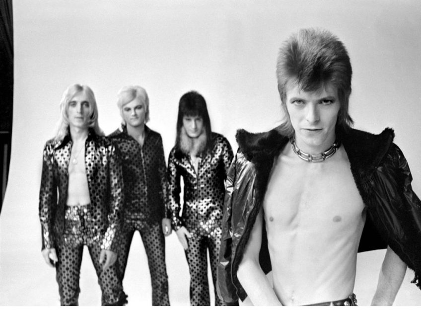 Woody Woodmansey and the Spiders From Mars during the filming of the video for Bowie's Jean Genie