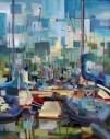 transitional abstract coastal sailboats sailing seattle art summer