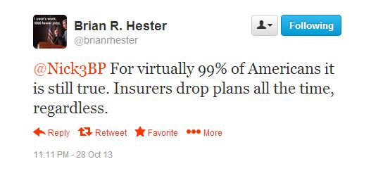 ODP Deputy Communications Director Brian Hester implies that 1.5 million Americans losing their health plans is no big deal