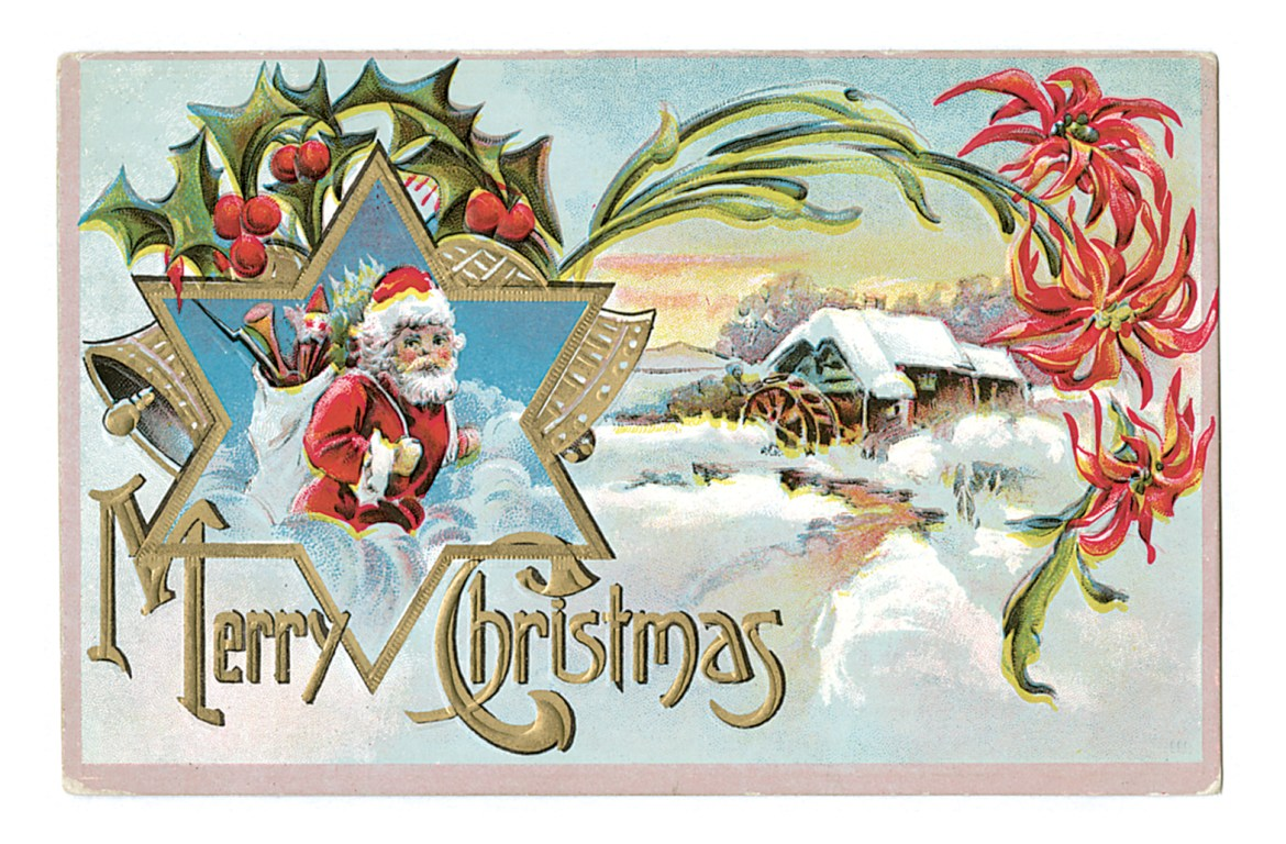 Christmas Greetings With Vintage Poinsettia And Ivy Postcards Free