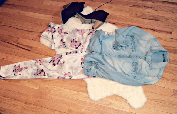 A&E flower jeans and shirt