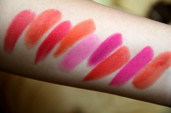 spring lipstick swatches