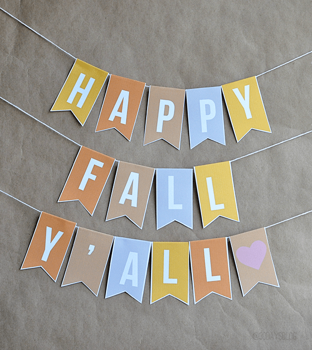 """Fall Decorations: Printable """"Happy Fall Y'All"""" Banner 
