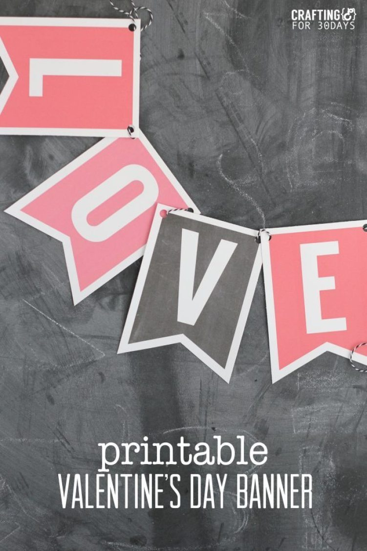 Printable Valentine's Day Banner from Crafting E for www.thirtyhandmadedays.com