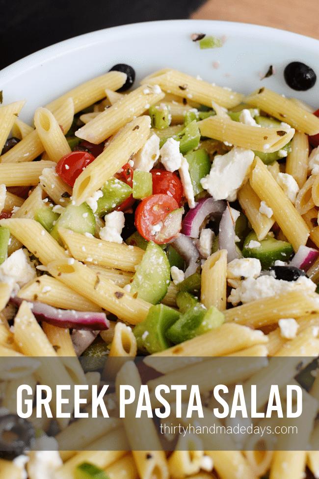 Easy Greek Pasta Salad Recipe Thirty Handmade Days