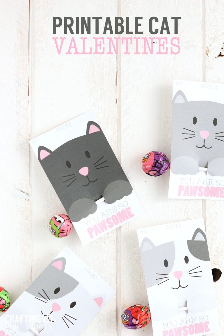 FREE Printable Cat Valentine Cards