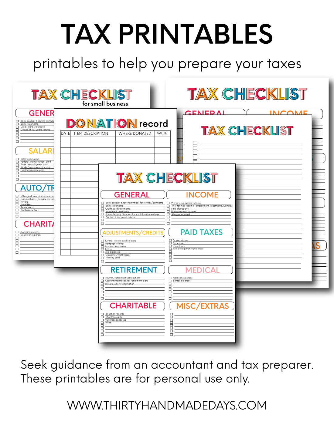 Printable Tax Forms For Your Budget Binder