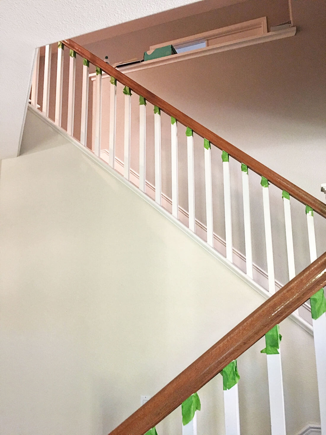 How To Paint Your Stair Railing And Banister Black From 30Daysblog | Wood Railings For Steps | Deck | Stairwell | Nautical Rope | Outdoor | Easy