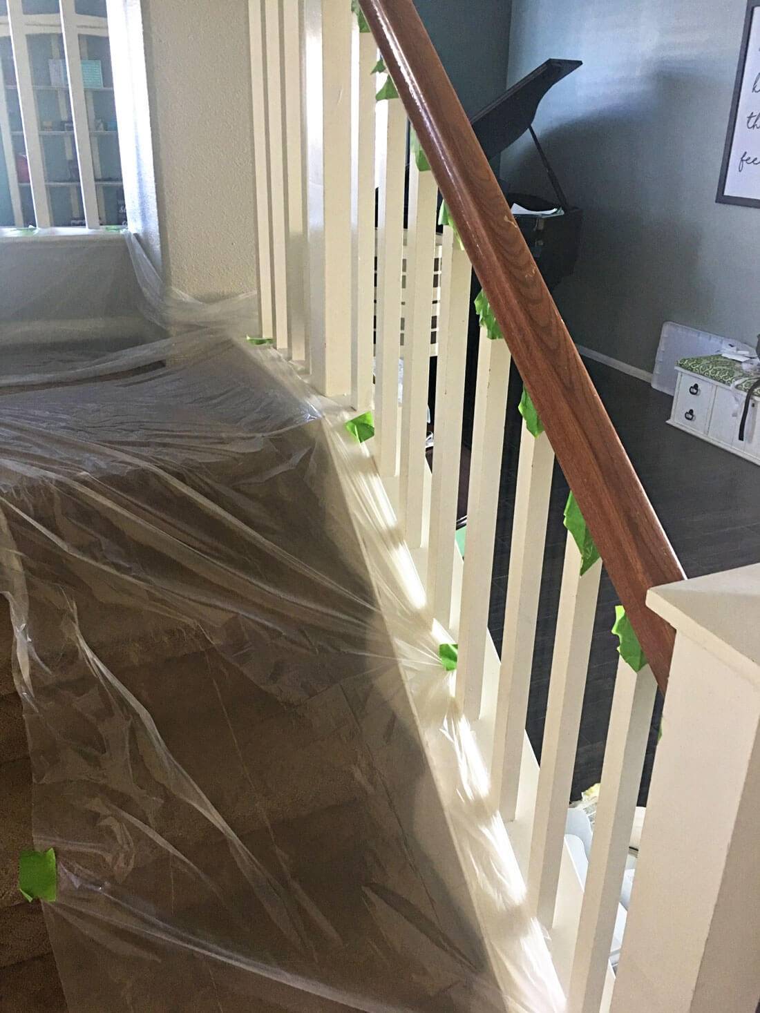 How To Paint Your Stair Railing And Banister Black From 30Daysblog | Two Tone Stair Railing | White | Indoor | Antique | Mansion | Country Style