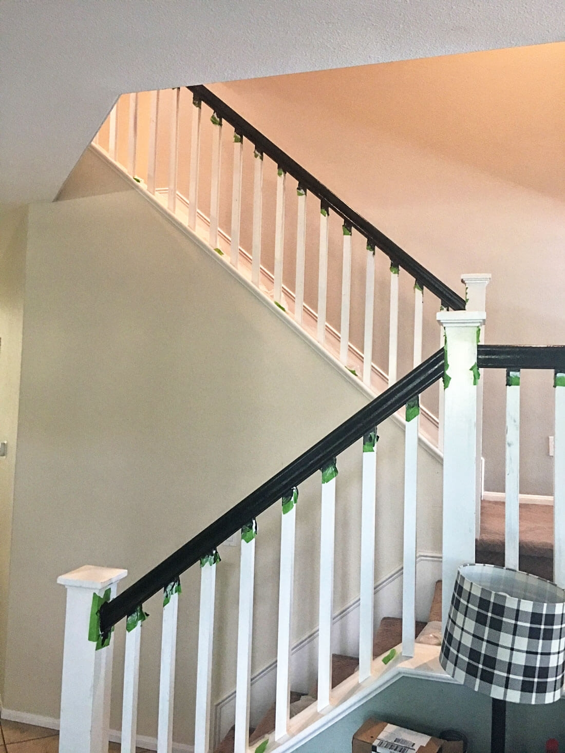 How To Paint Your Stair Railing And Banister Black From 30Daysblog | Black Banister White Spindles | Black Railing | Wainscoting | White Painted Riser | Benjamin Moore Stair Railing | Baluster Curved Stylish Overview Stair