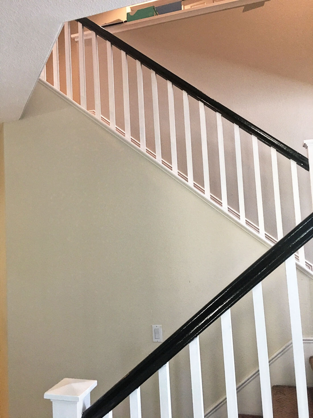 How To Paint Your Stair Railing And Banister Black From 30Daysblog | Metal And Wood Interior Railings | Contemporary | Art Craft | Black Glass Interior | Wood Cap | Metal Exterior Brown